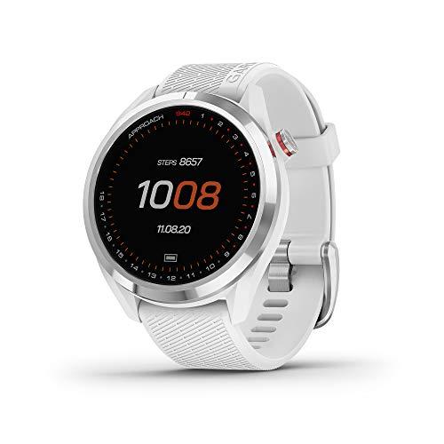 Garmin Approach S42 GPS-Golf-Smartwatch, leicht, mit 3 cm Touchscreen, 42 K + vorgeladene Plätze, silberfarbene Keramik-Lünette und weißes Silikonband, 010-02572-11