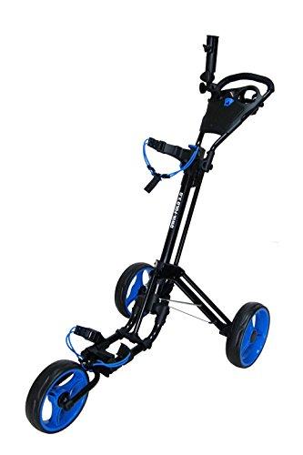 Qwik-Fold Unisex-Erwachsene 3 Wheel Push Pull Golf CART-Foot Brake-ONE Second to Open & Close (Black/Blue) Golfwagen, schwarz/blau