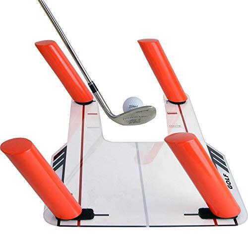 ETE ETMATE Easy Path Golfschwung-Trainingshilfe mit Acrylsockel und 6-Wege-Ruten Golf Slice und Hook Corrector mit 4 abgewinkelten Ruten - Swing Trainer-Trap The Ball Training Swing Path Aid