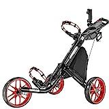 CaddyTek Golfwagen golf trolleys 3 Rad Golf Push cart leicht falten-rot