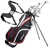 Wilson Anfänger-Komplettsatz, 10 Golfschläger mit Carrybag, Herren, Rechtshand, Stretch XL, schwarz/grau/rot, WGG157548